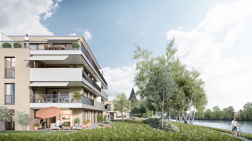 Überbauung am Ufer, Bremgarten